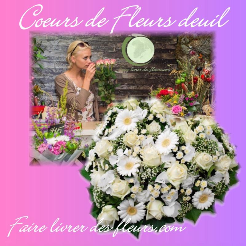 FAIRE LIVRER UN COEUR DE FLEURS DEUIL