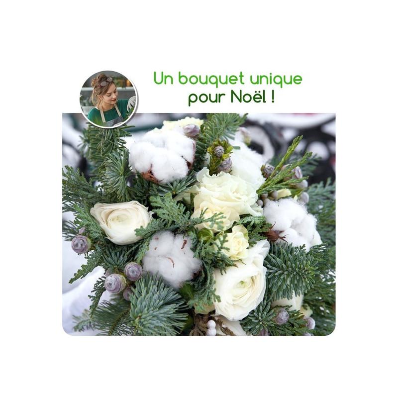 Bouquet de Noël du fleuriste - Tons blancs